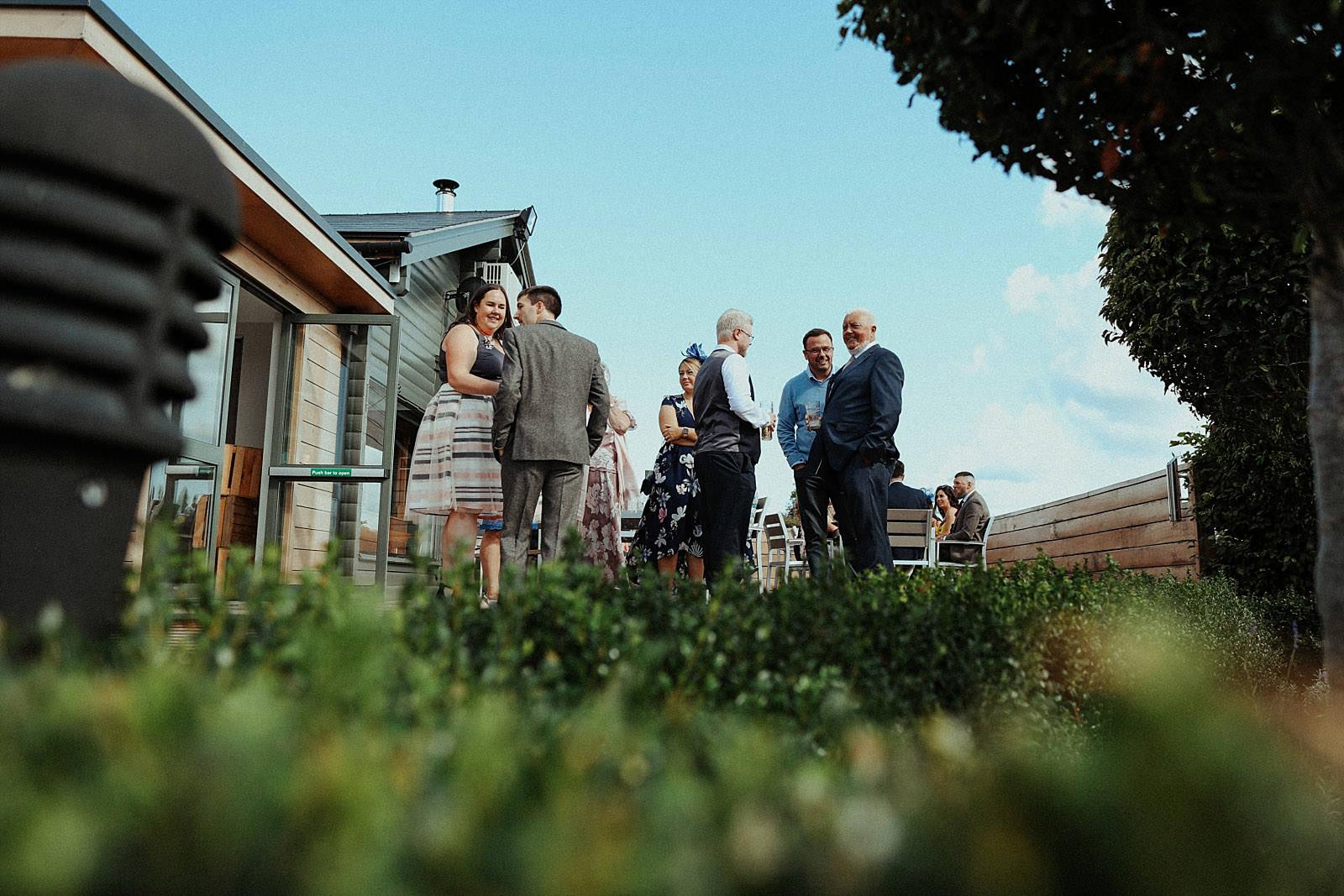 weddings guests congregating