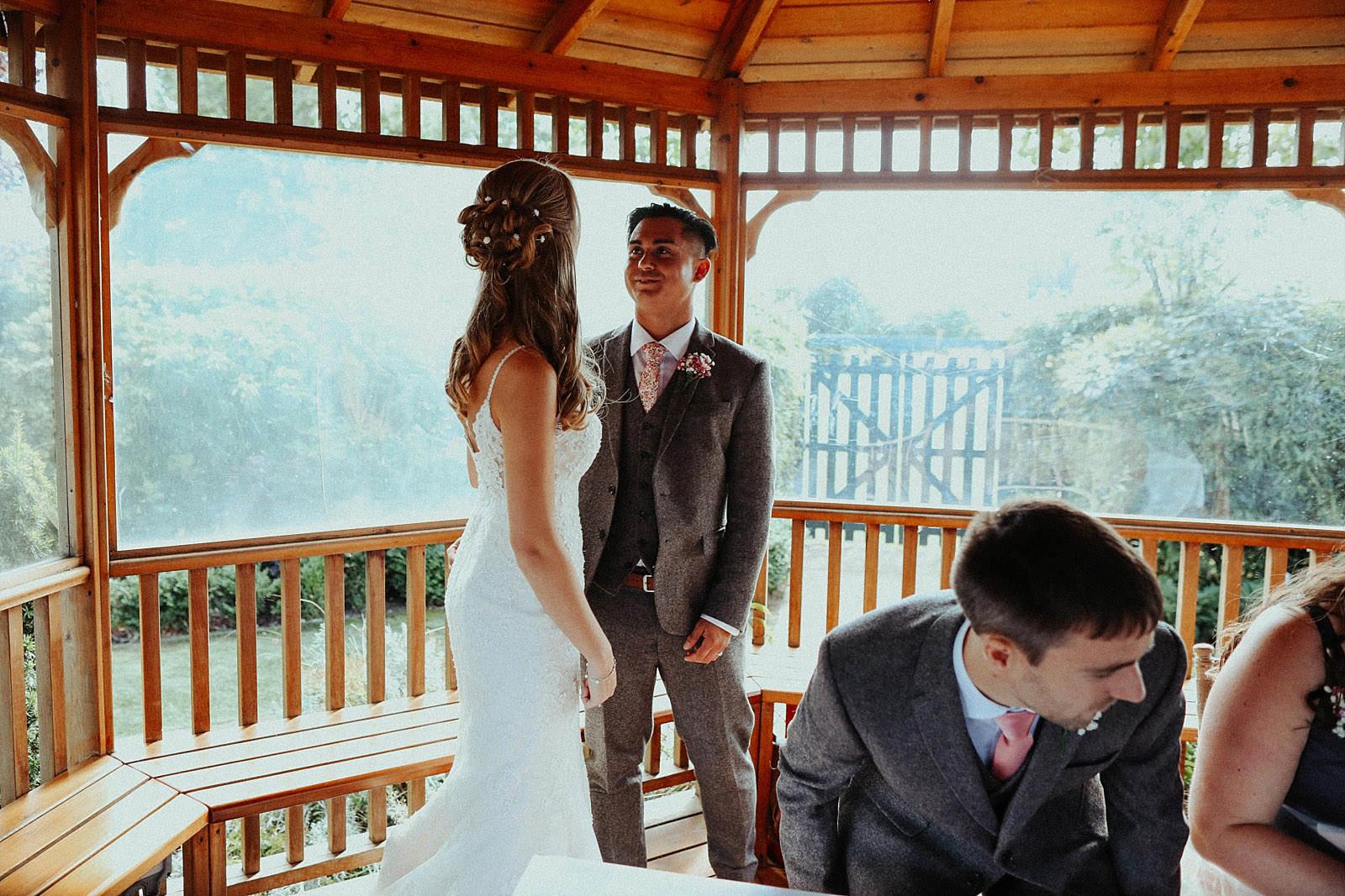 bride and groom stood together