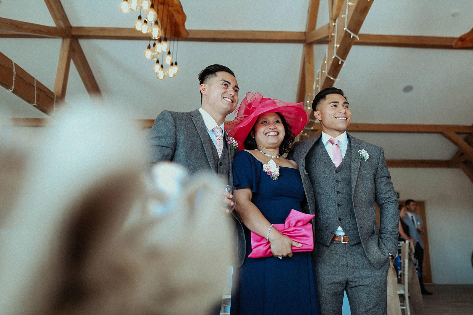 groom with his brother and mum