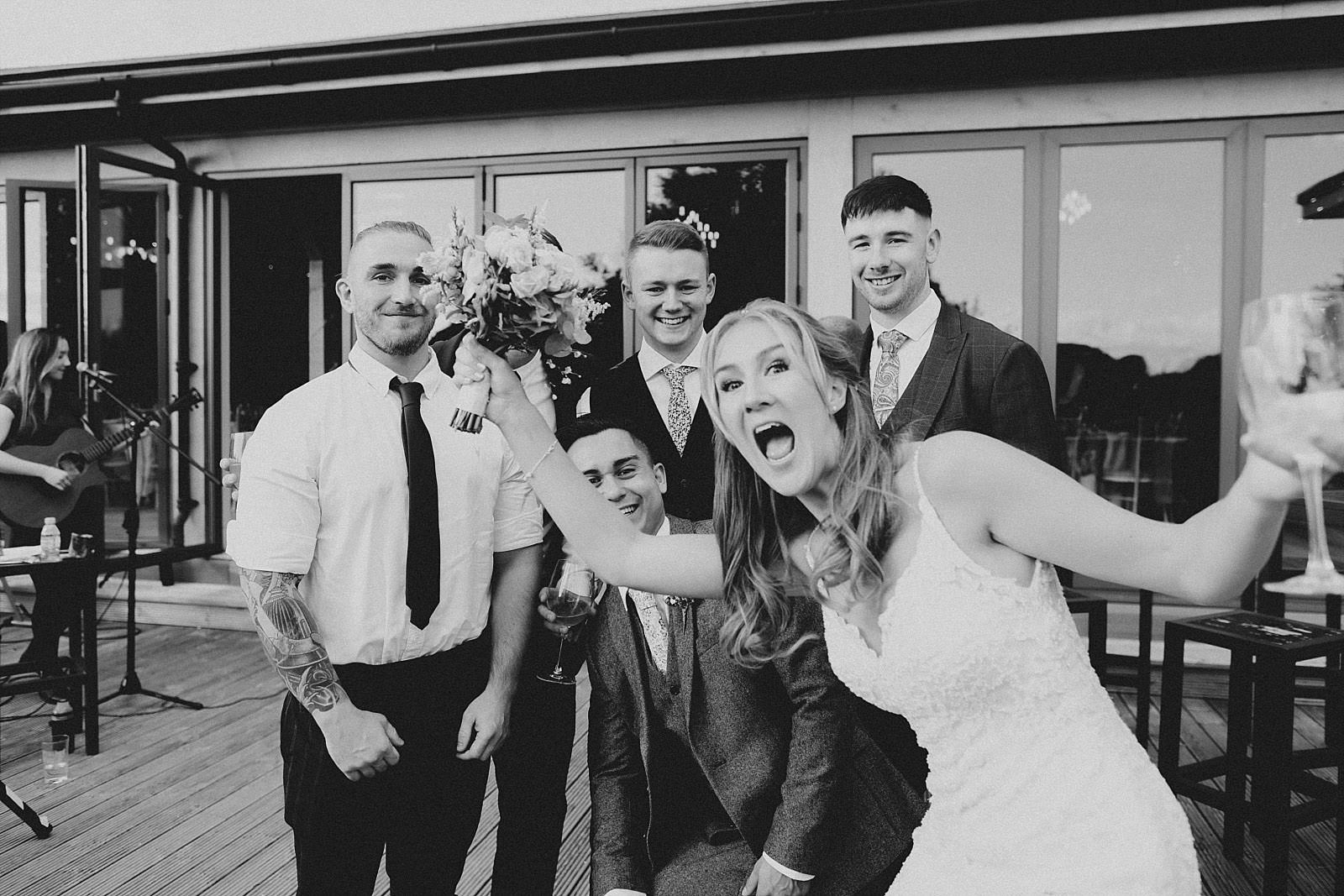 bride photobombs a picture