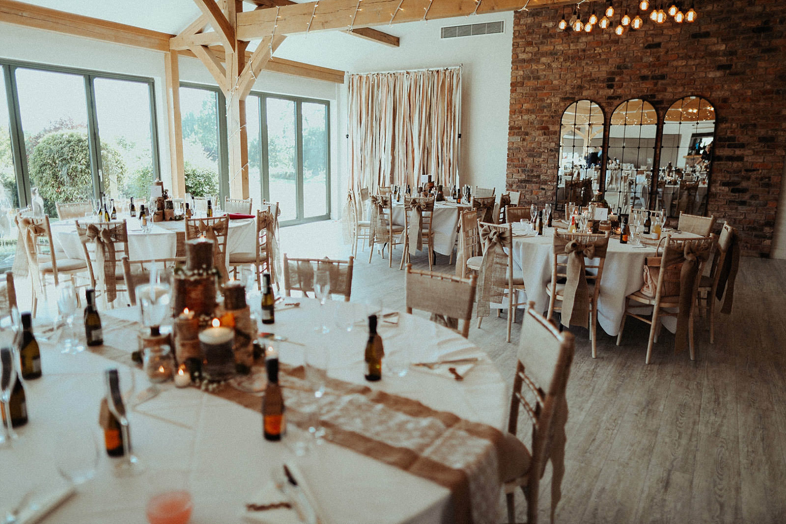 rustic style room and table set out at pryor hayes wedding venue