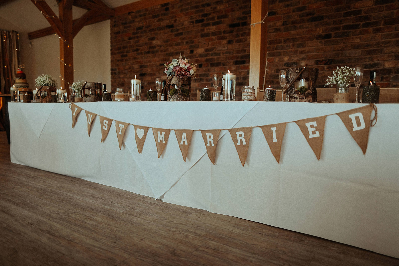 hesian just married bunting for top table