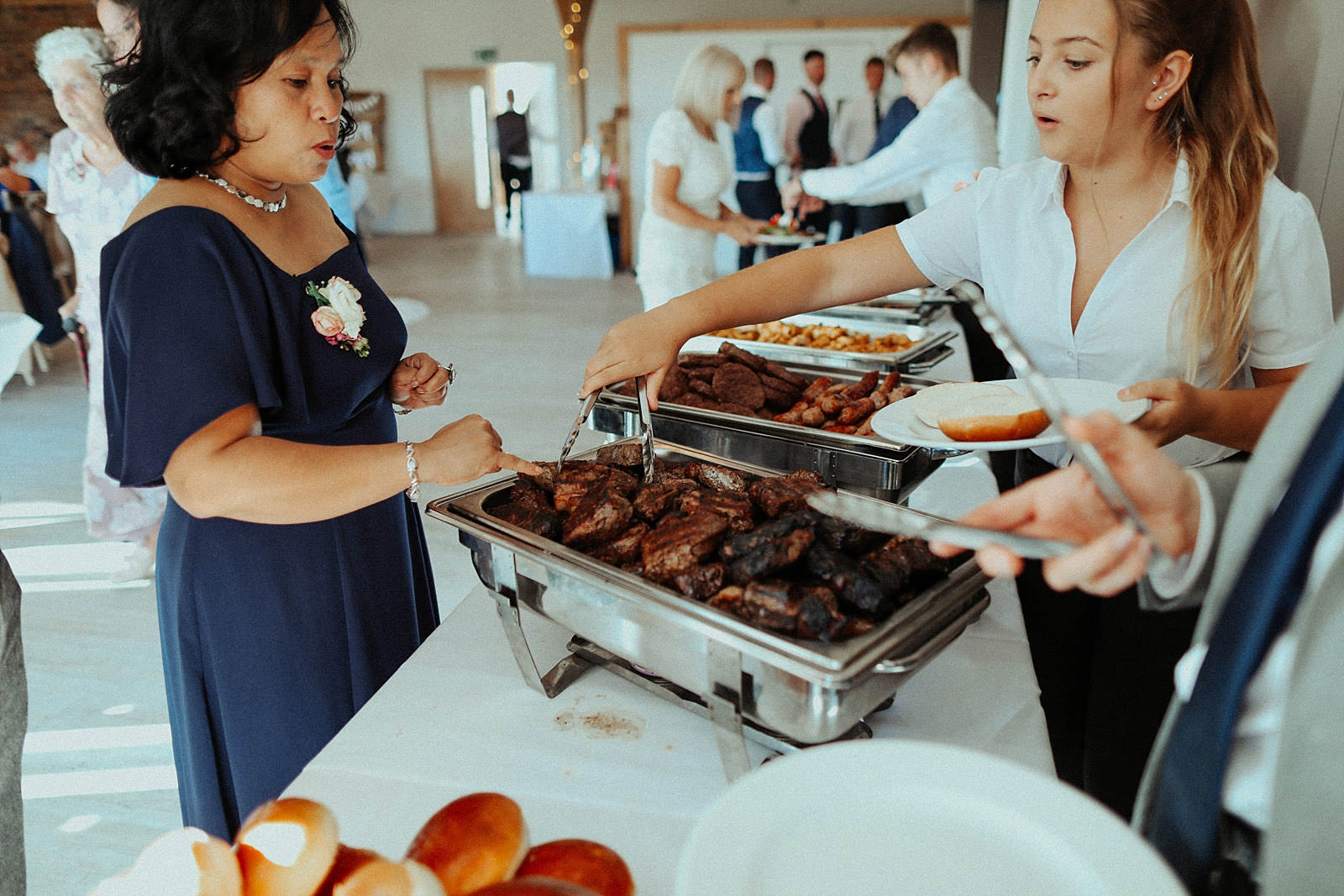 BBQ food being served during wedding