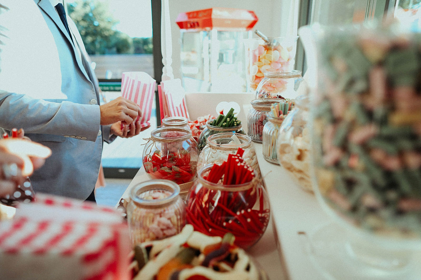selection of sweets from a wedding sweet cart