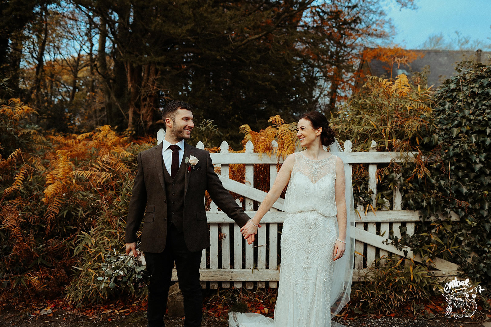 newly married couple at wyresdale park in lancashire