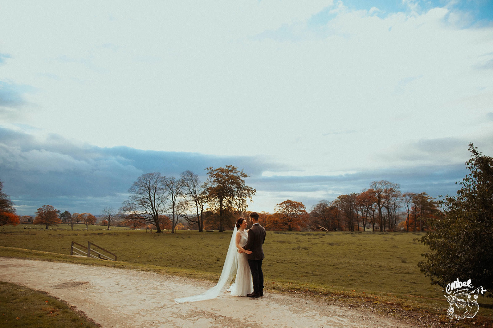 a view over lancashire at wyresdale park with some newly weds