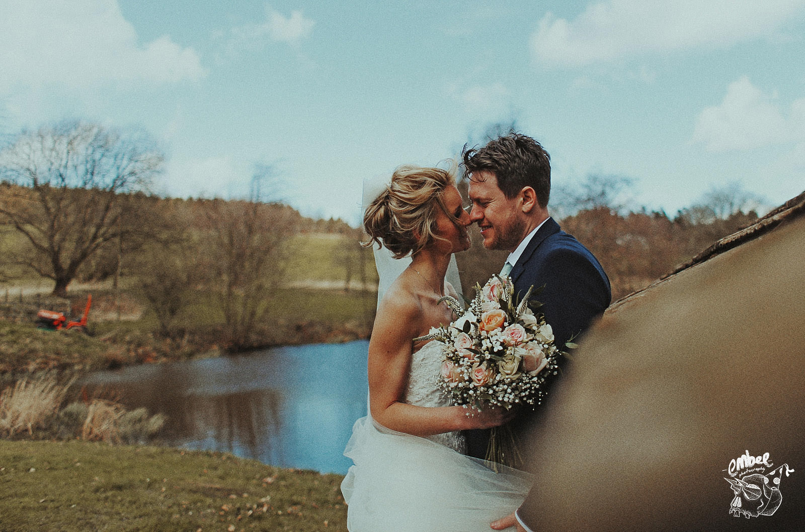 natural photography of bride and groom at browseholme hall & tithe barn
