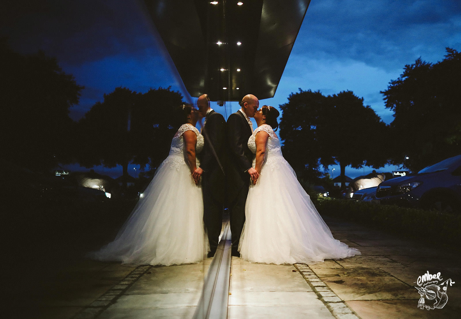 night shot with wedding couple in warrington