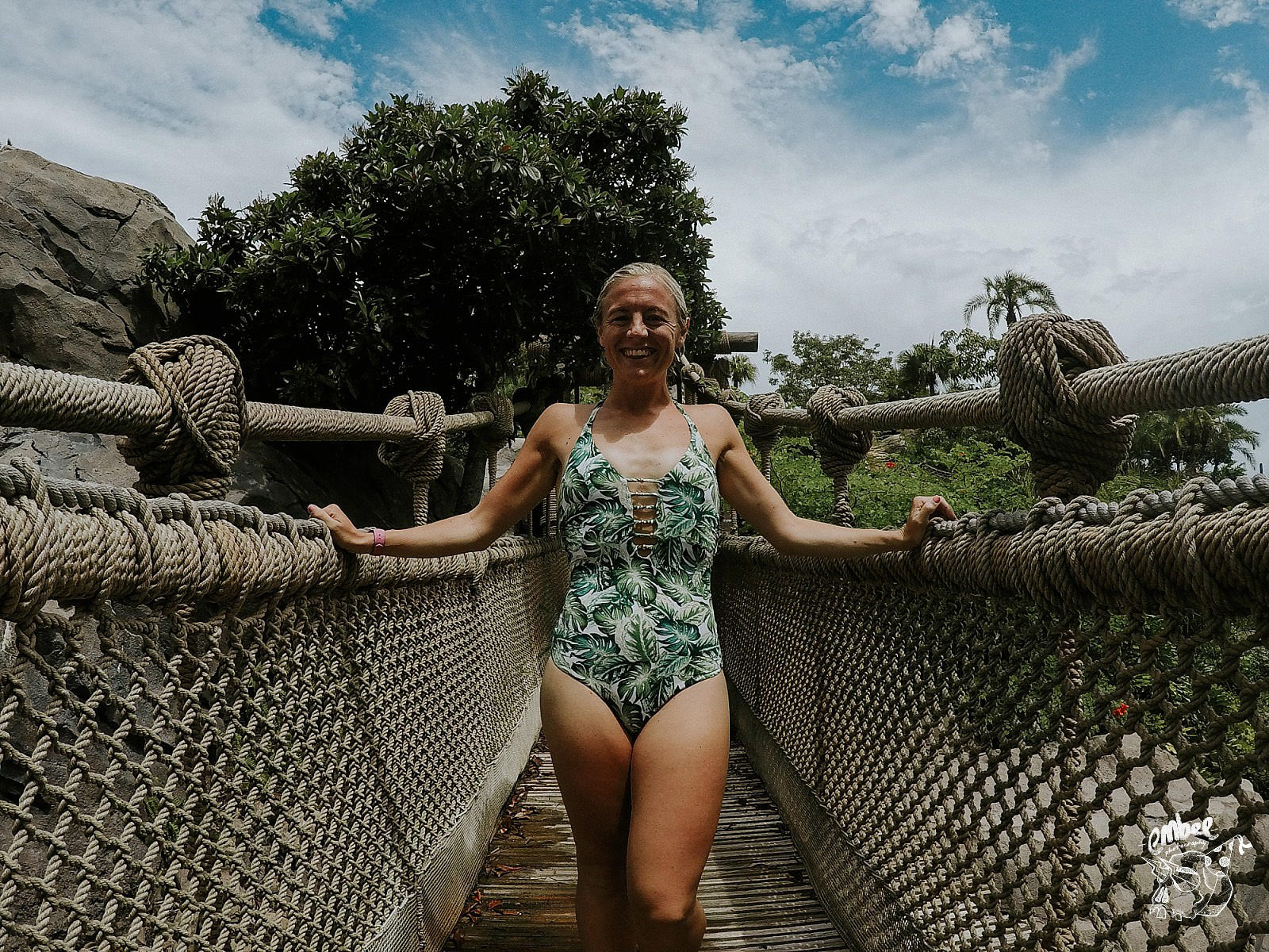 girl on rope bridge in typhoon lagoon