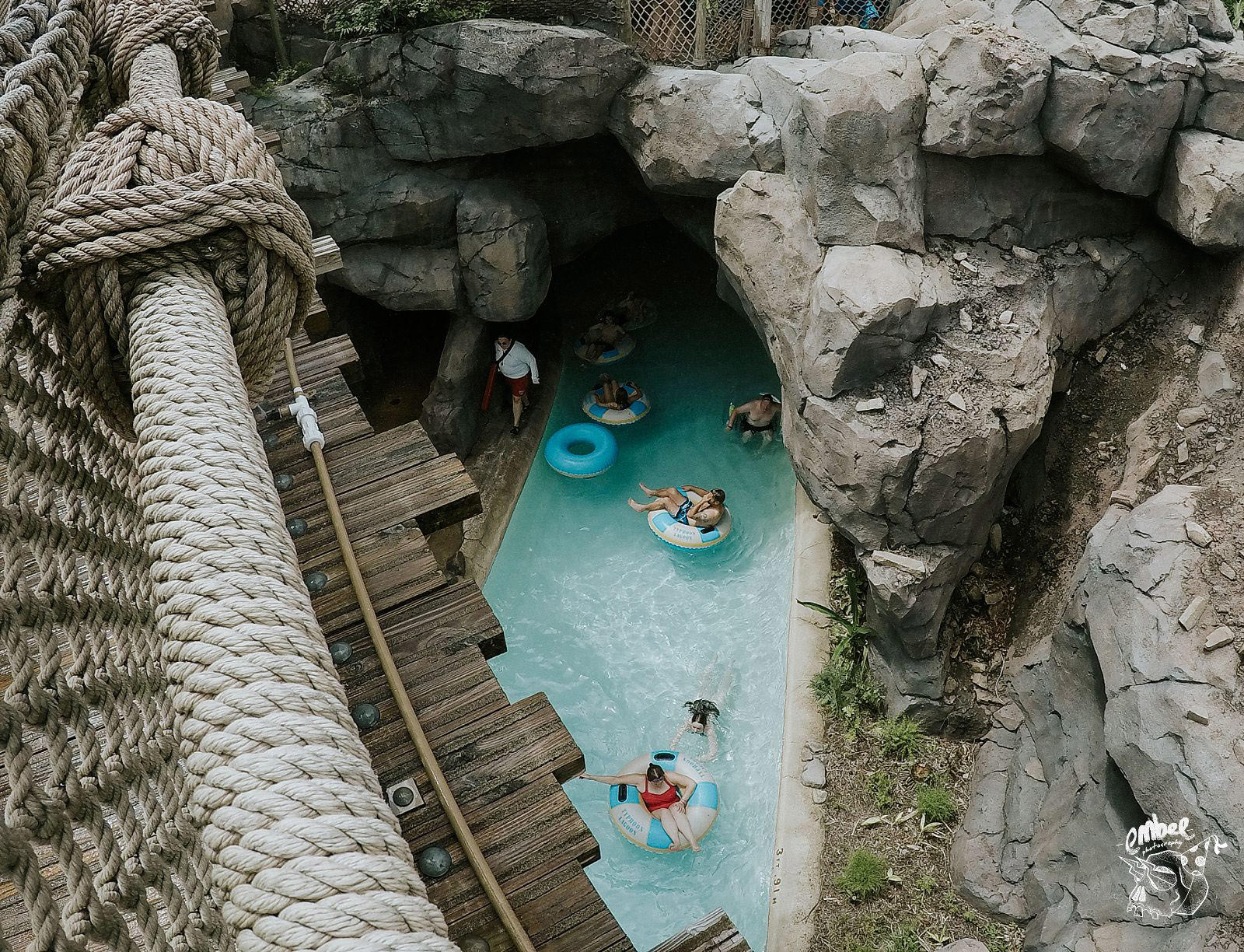 looking down on the lazy river in typhoon lagoon