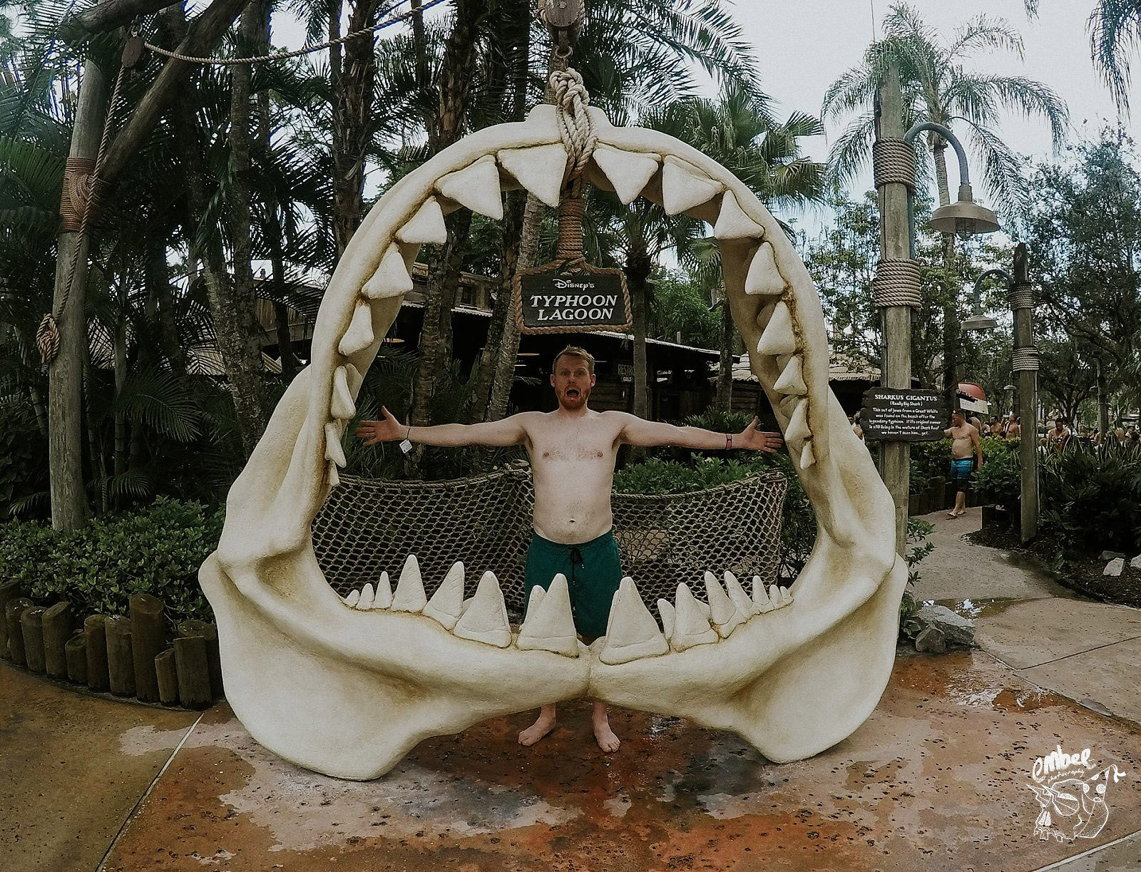 man in the shark mouth in typhoon lagoon