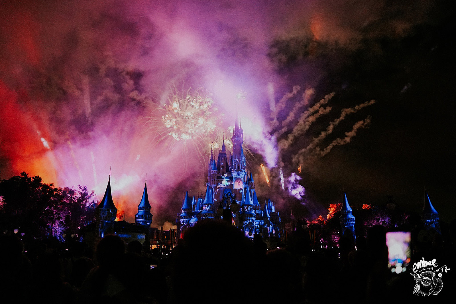 the magic kingdom castle fireworks show at night