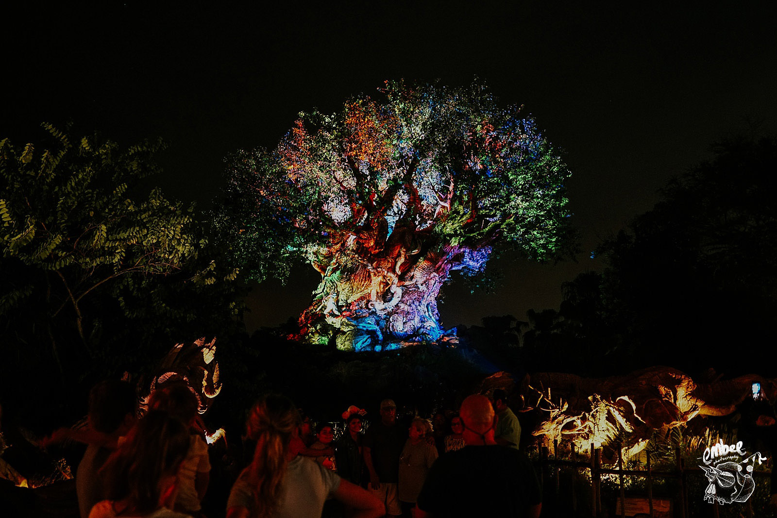tree of life lit up at night in animal kingdom