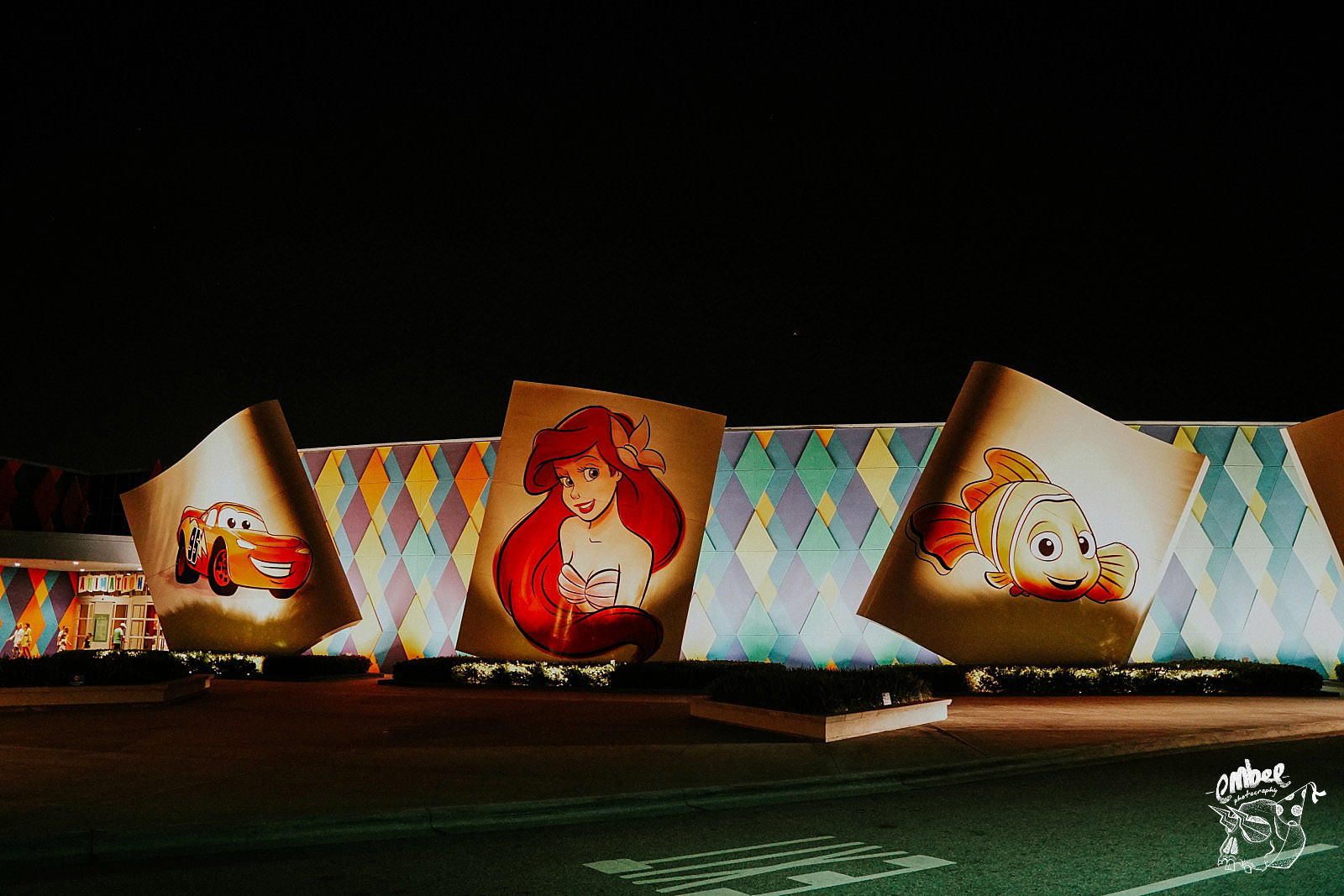 hotel art of animation at night