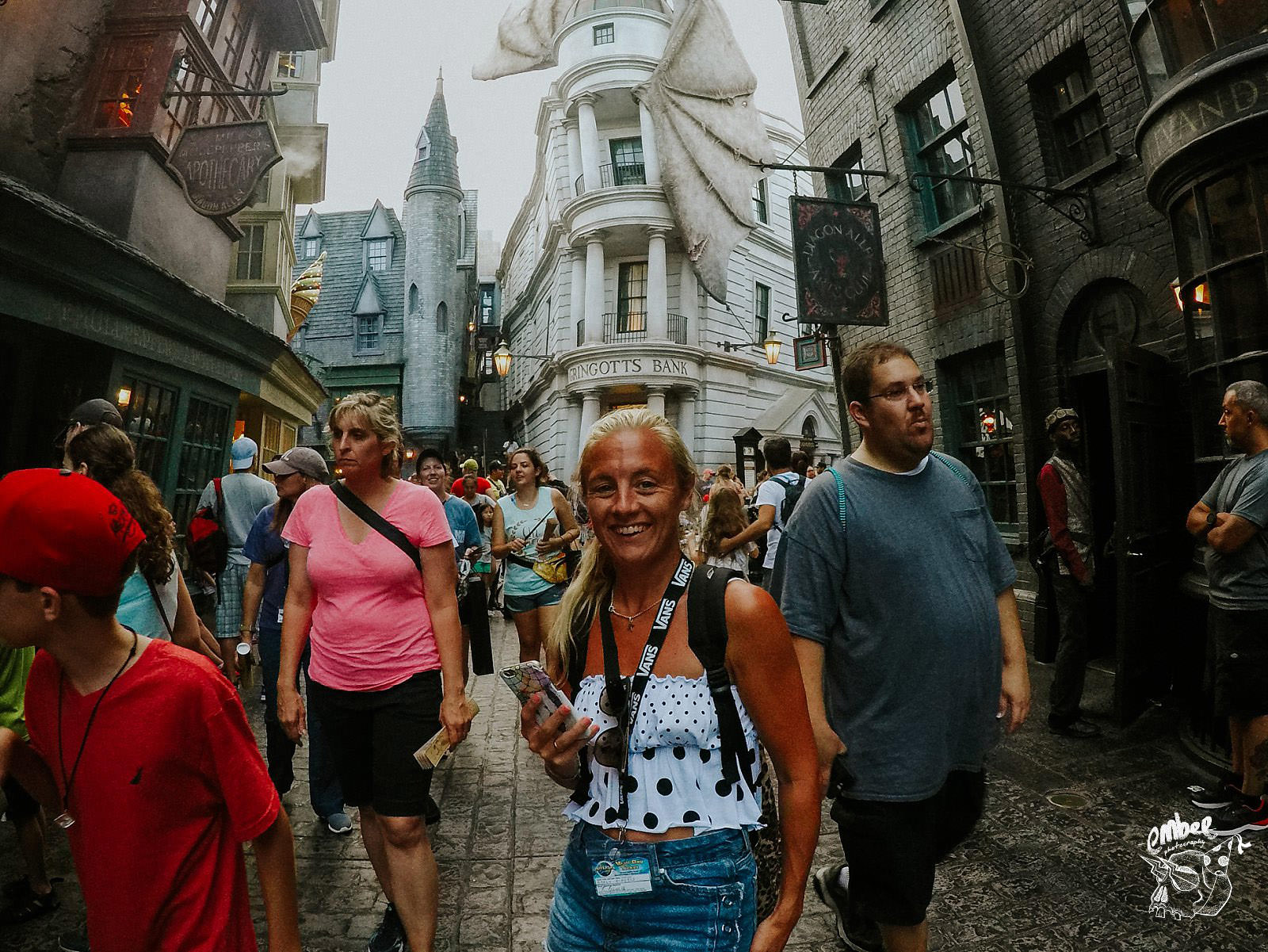 girl infront of gringots bank