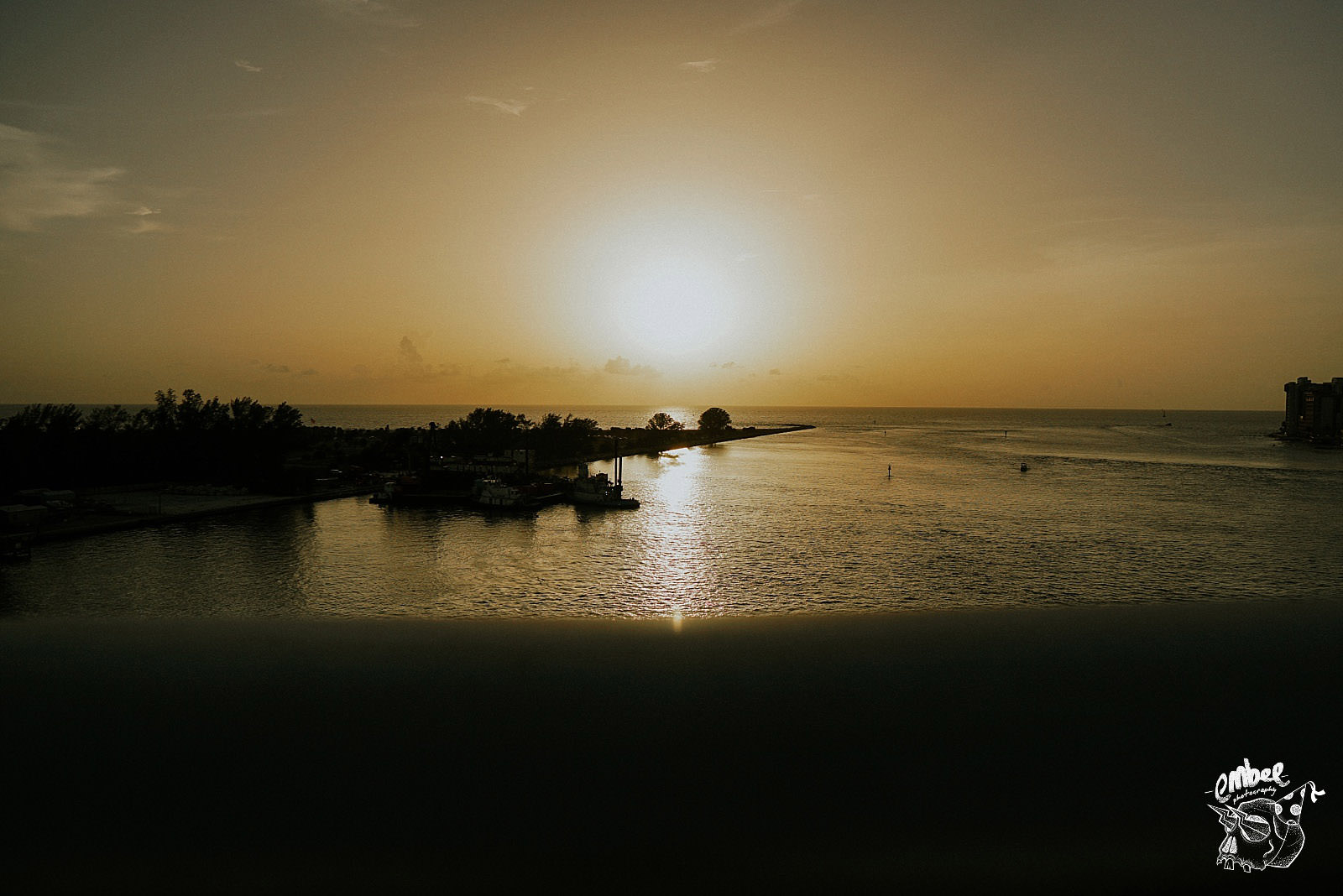 sunset view over clear water in tampa bay