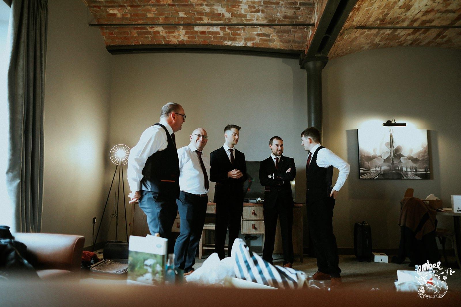 men at groom prep