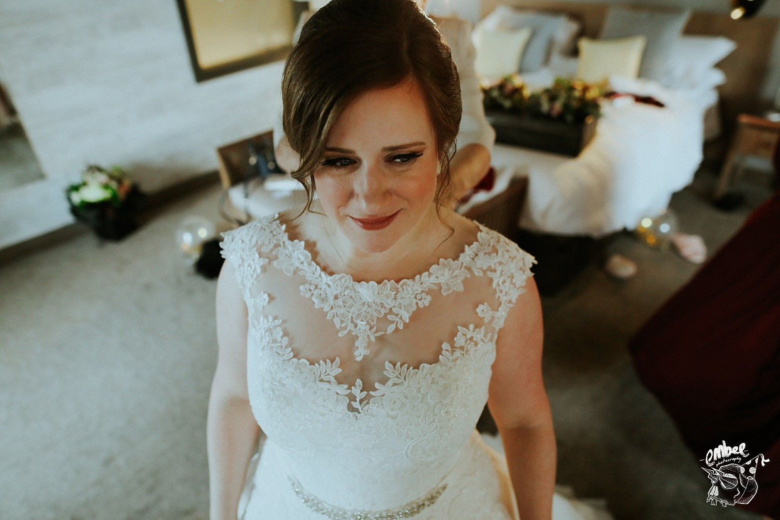 looking down on bride in her dress