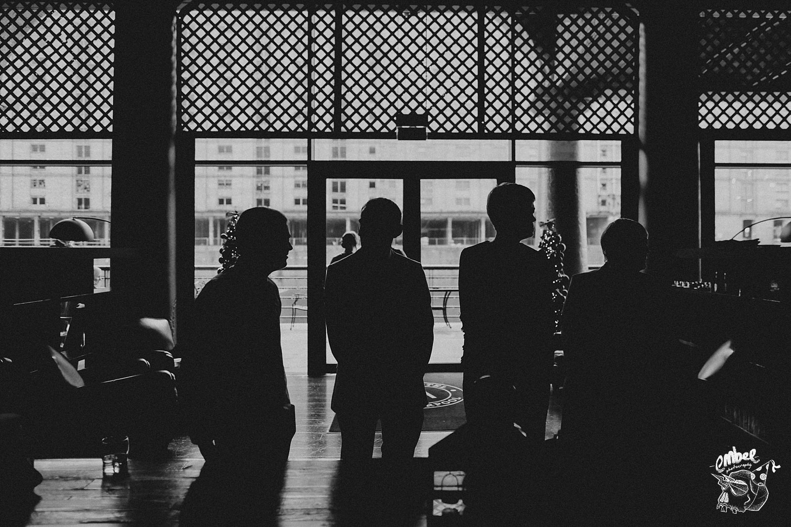 silhouettes of wedding guests