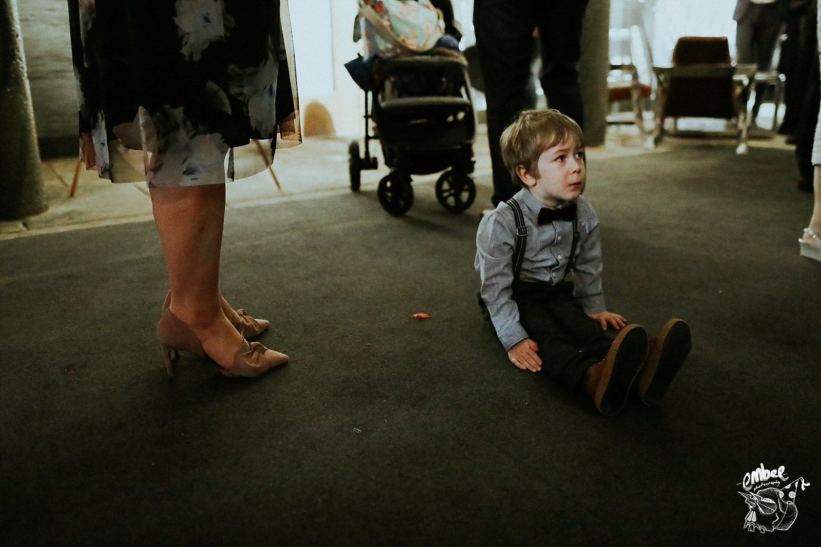 child having a paddy on the floor