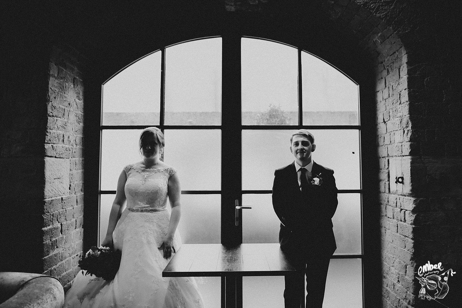 creative shot of bride and groom