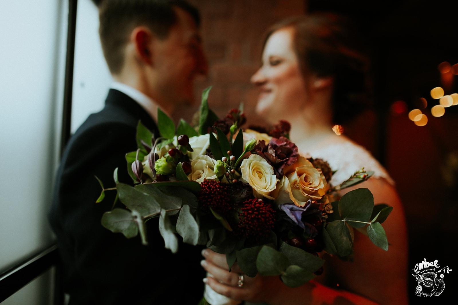 close up detail shot of the brides bouquet