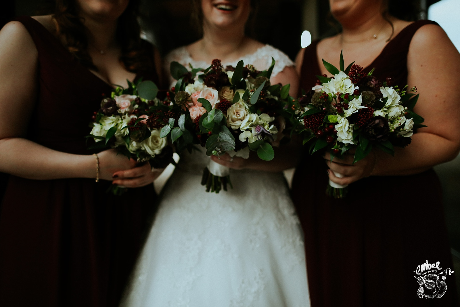 close up image of bridal flowers in winter colours
