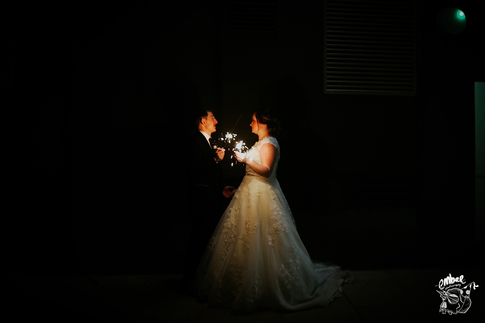 sparkler potrait with bride and groom