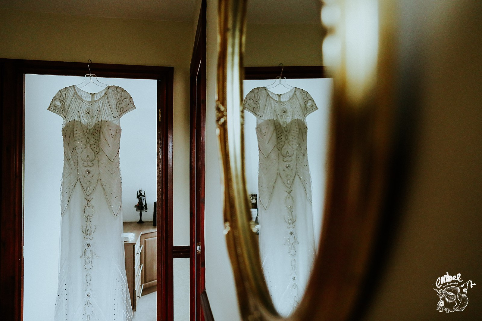 wedding dress in mirror