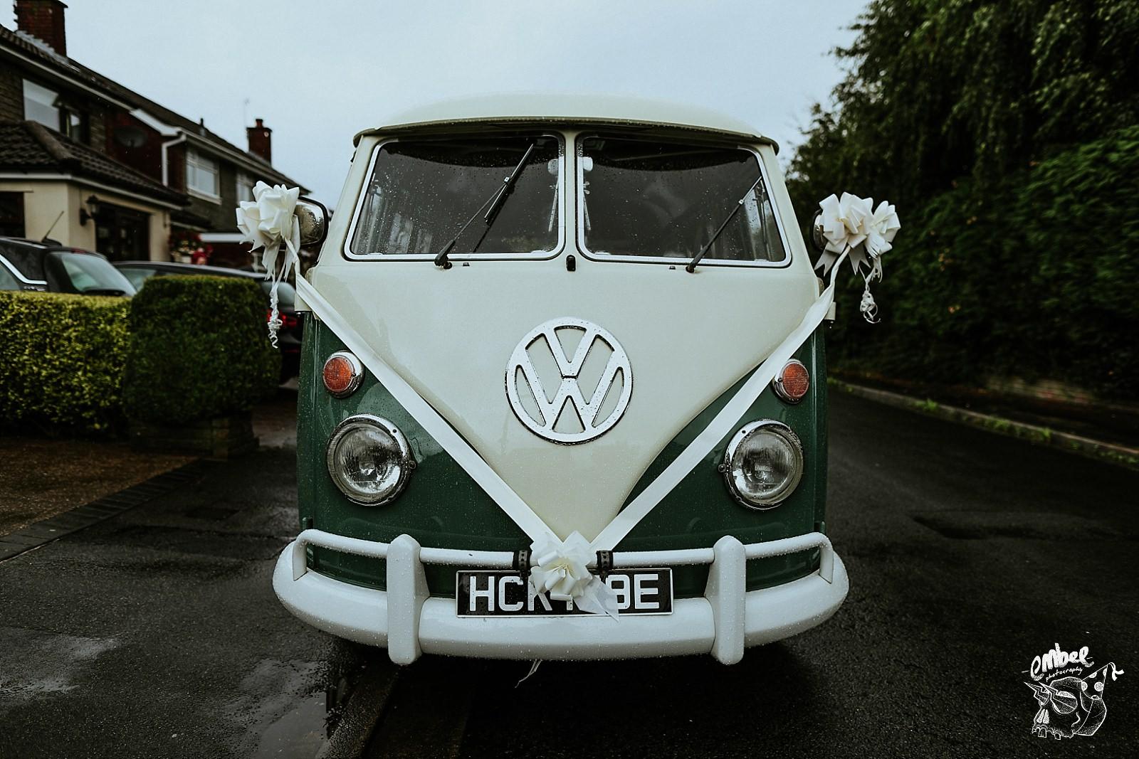 VW camper van picking up bride