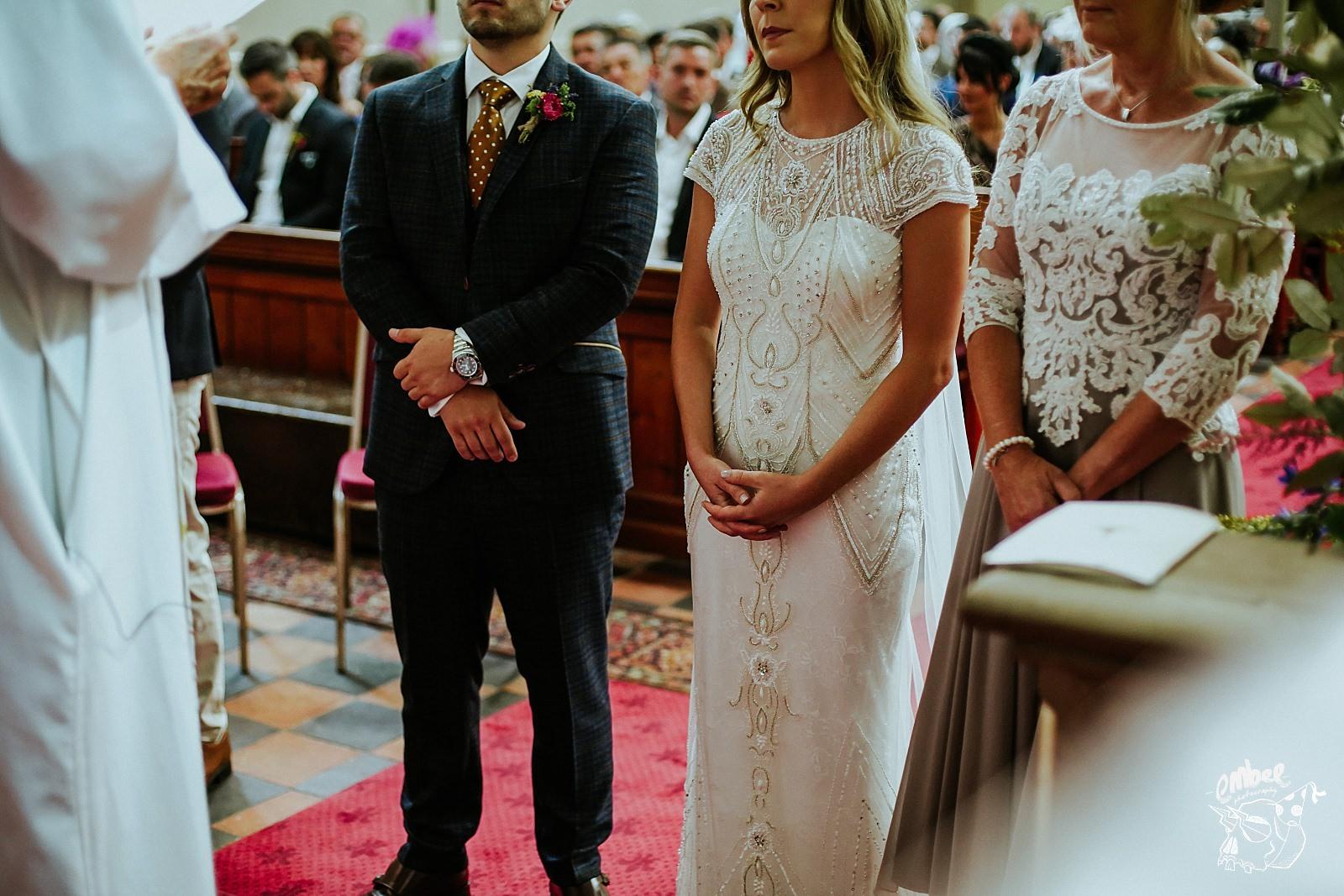 bride and grooms nervous hands
