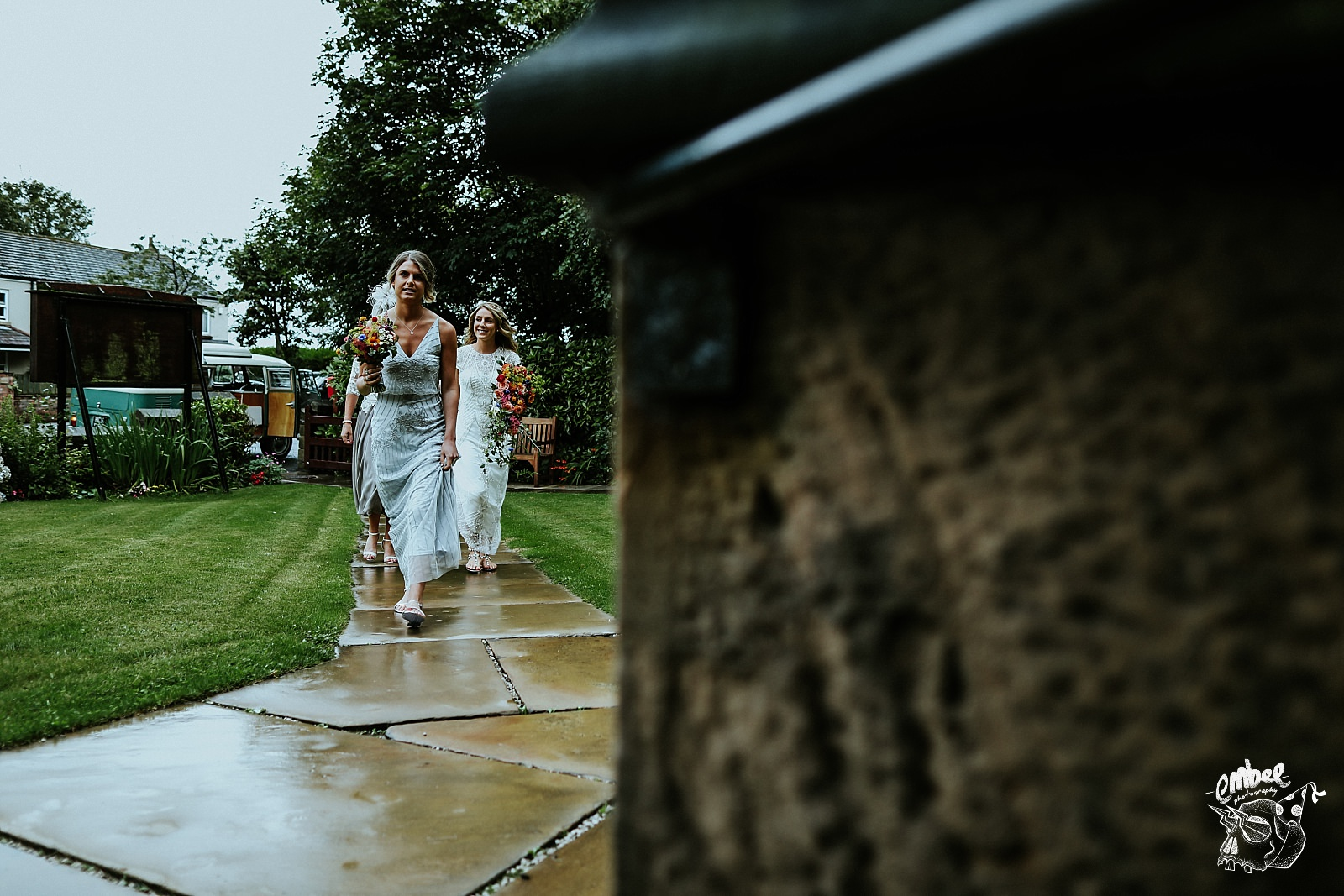 bridal party walking to church