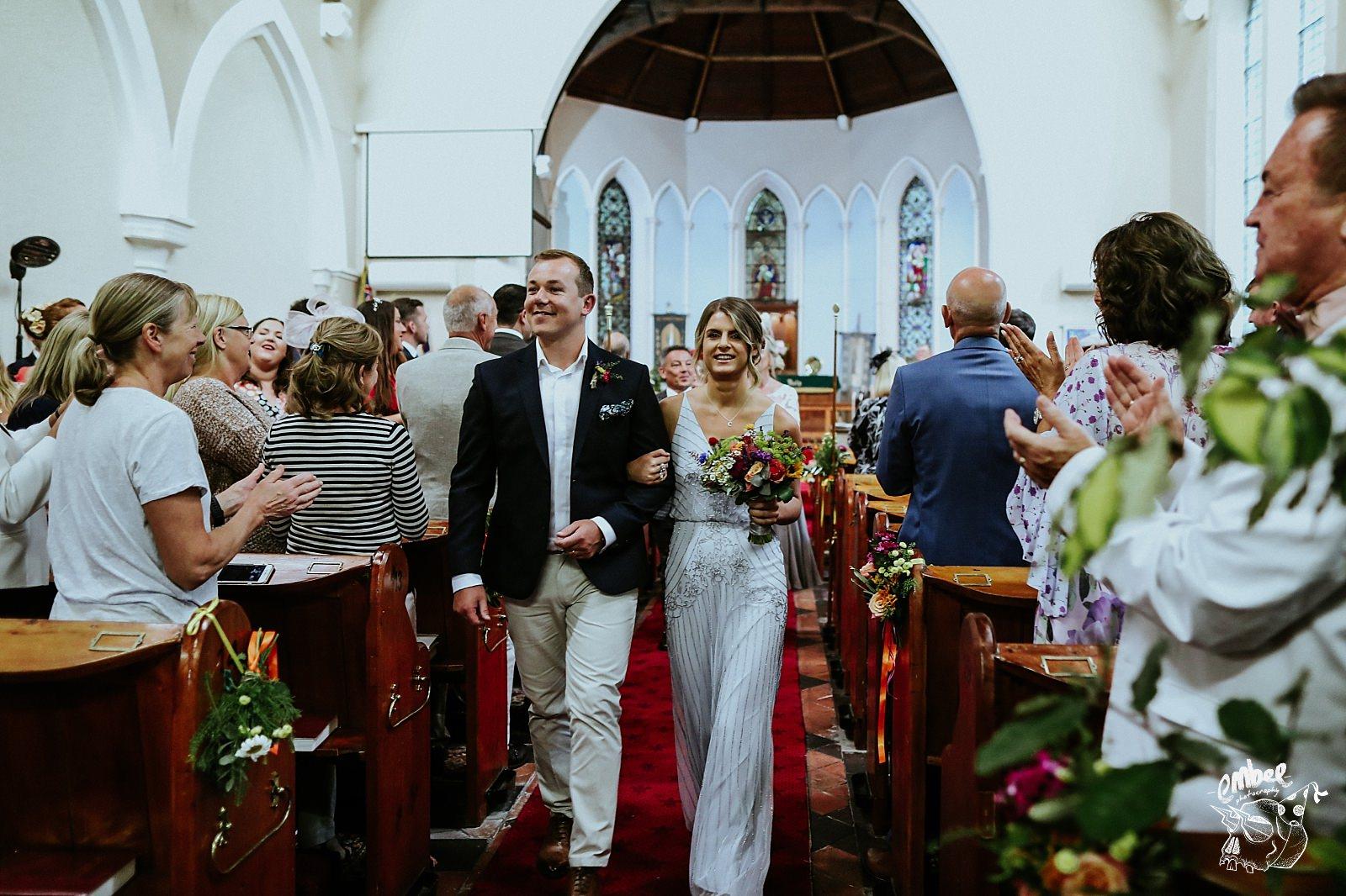 wedding party leaving church
