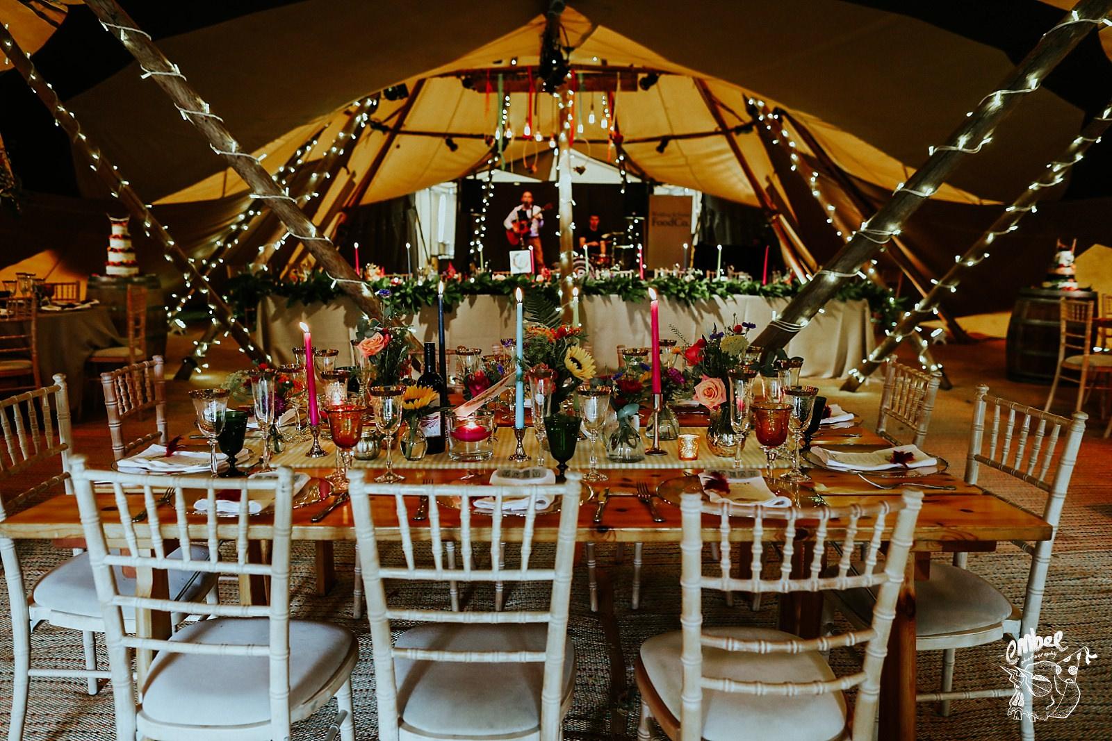 table layout at tipi wedding