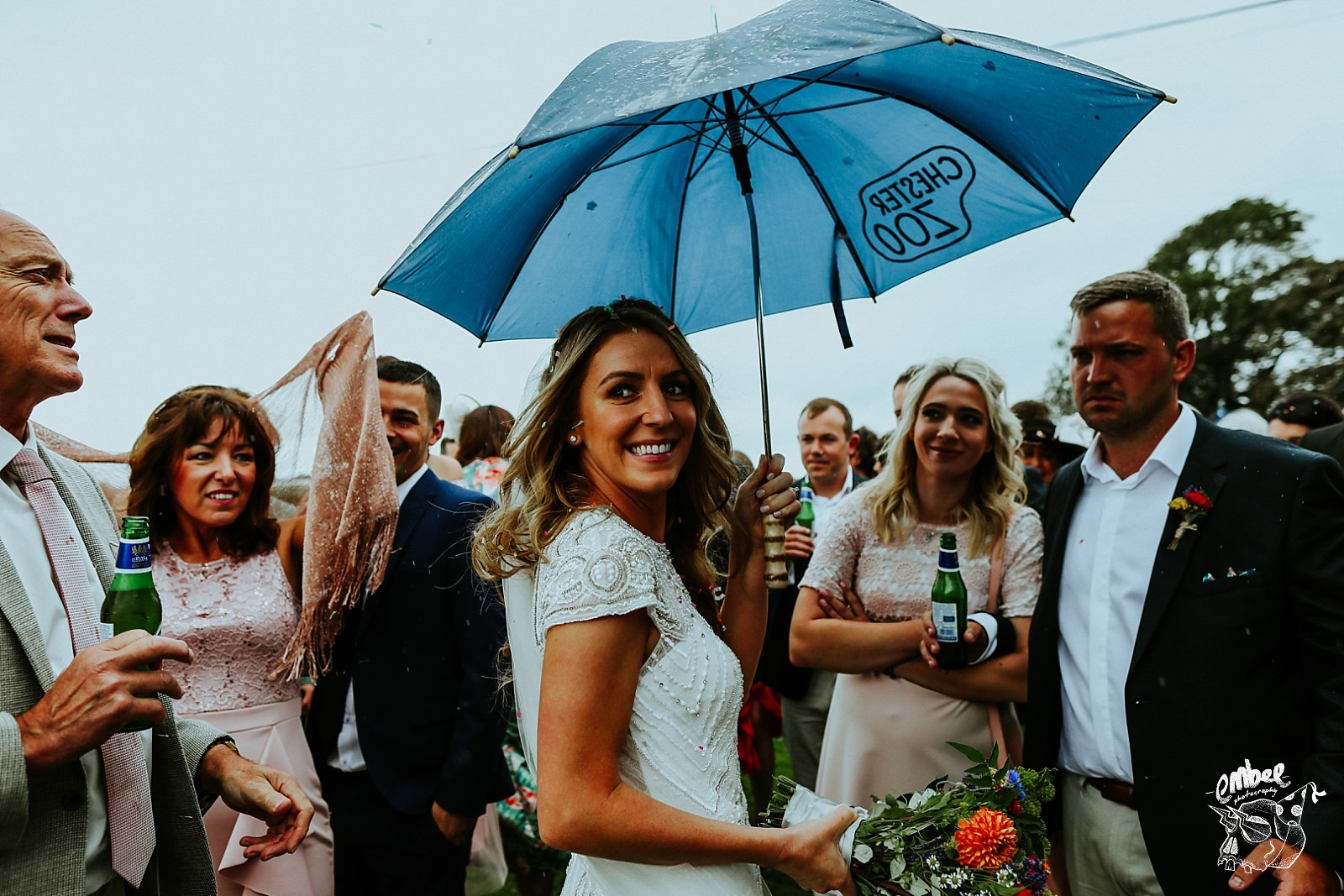 bride turns and smiles on her wedding