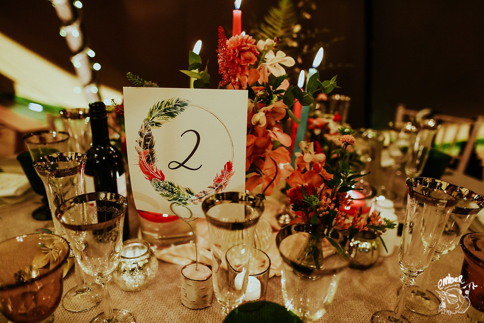 table number with flowers