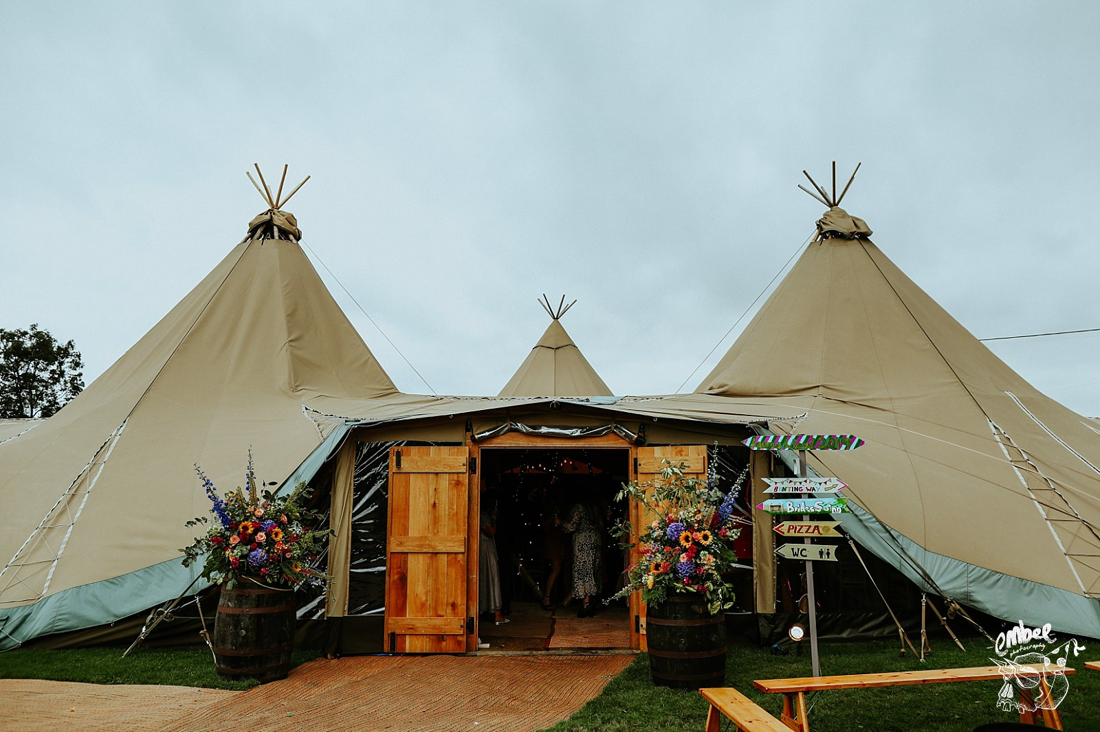 wedding tipi with flowers