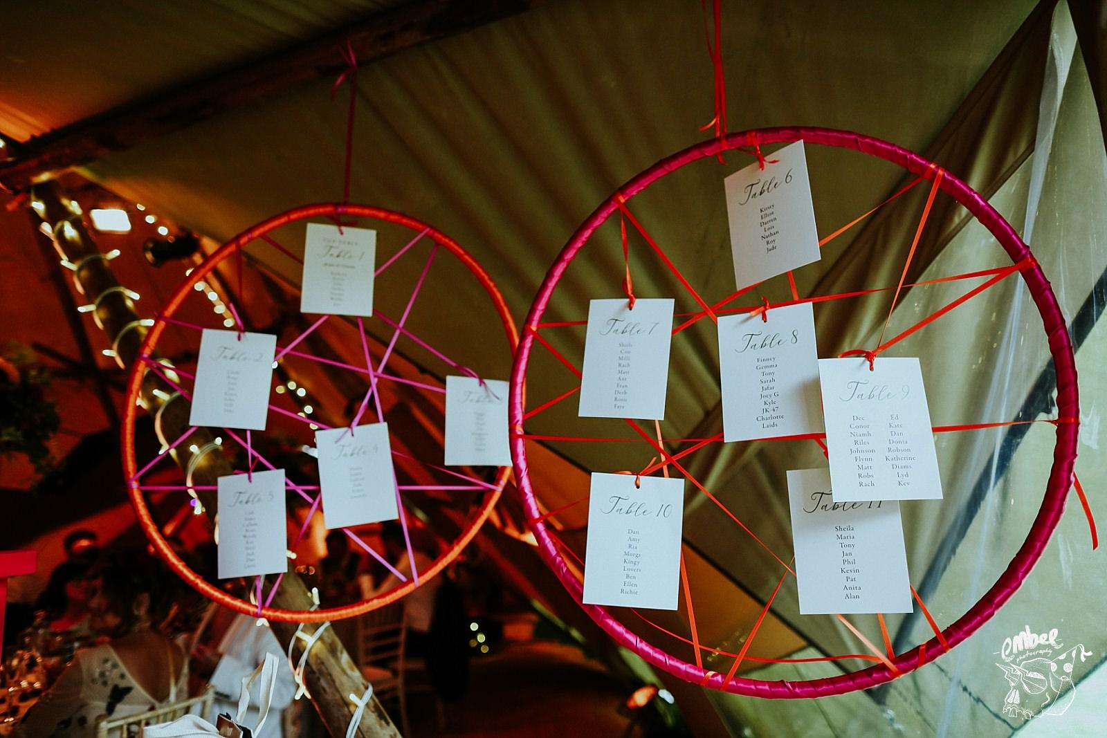 dream catcher wedding table plans