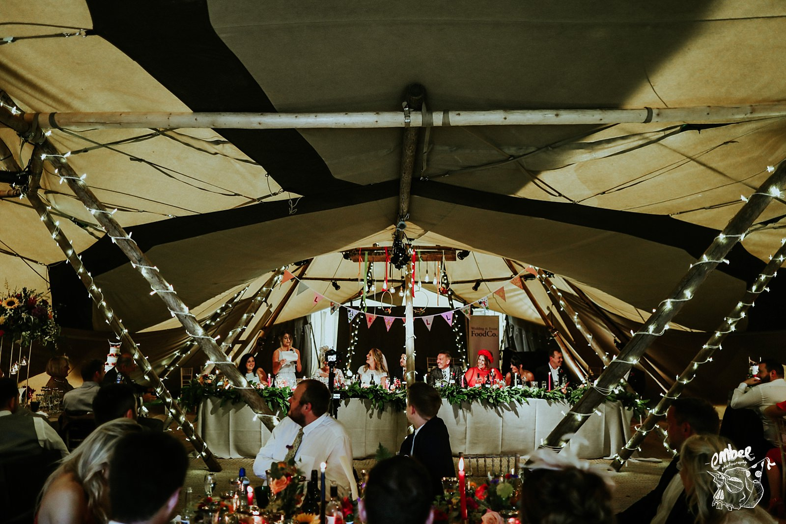 inside shot of the wedding tipi