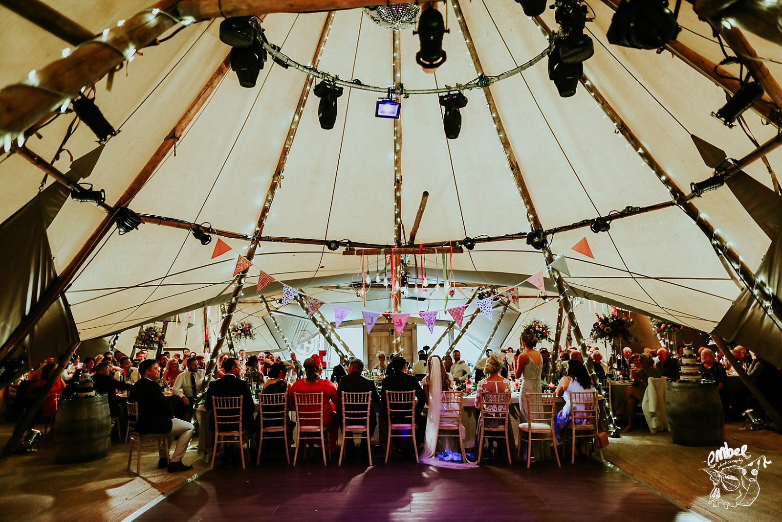 wide shot of the guests inside the wedding tipi