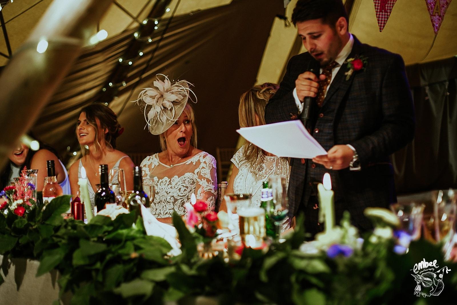 mum reaction at groom speech