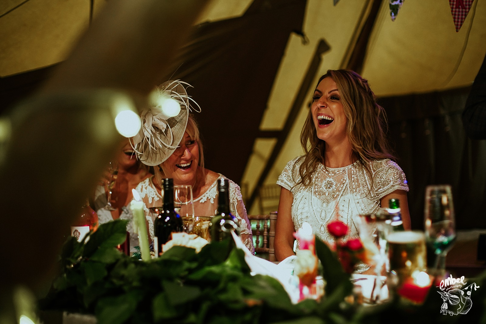 bride laughin at speeches