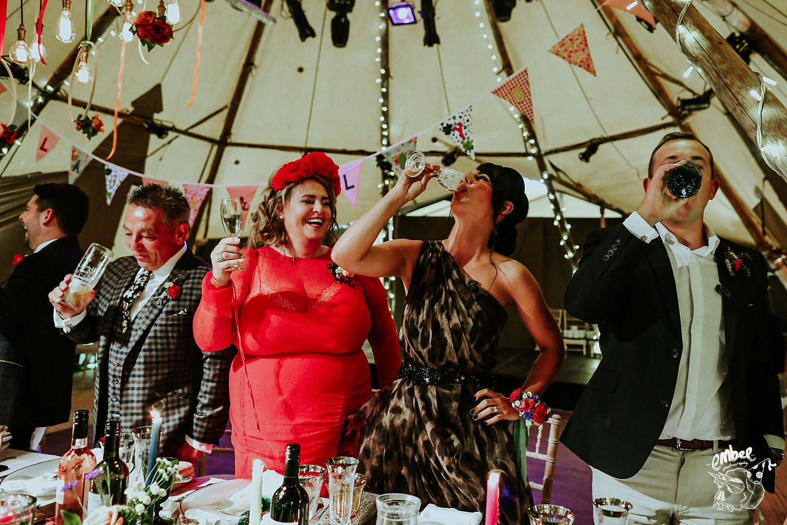grooms sister downing champagne