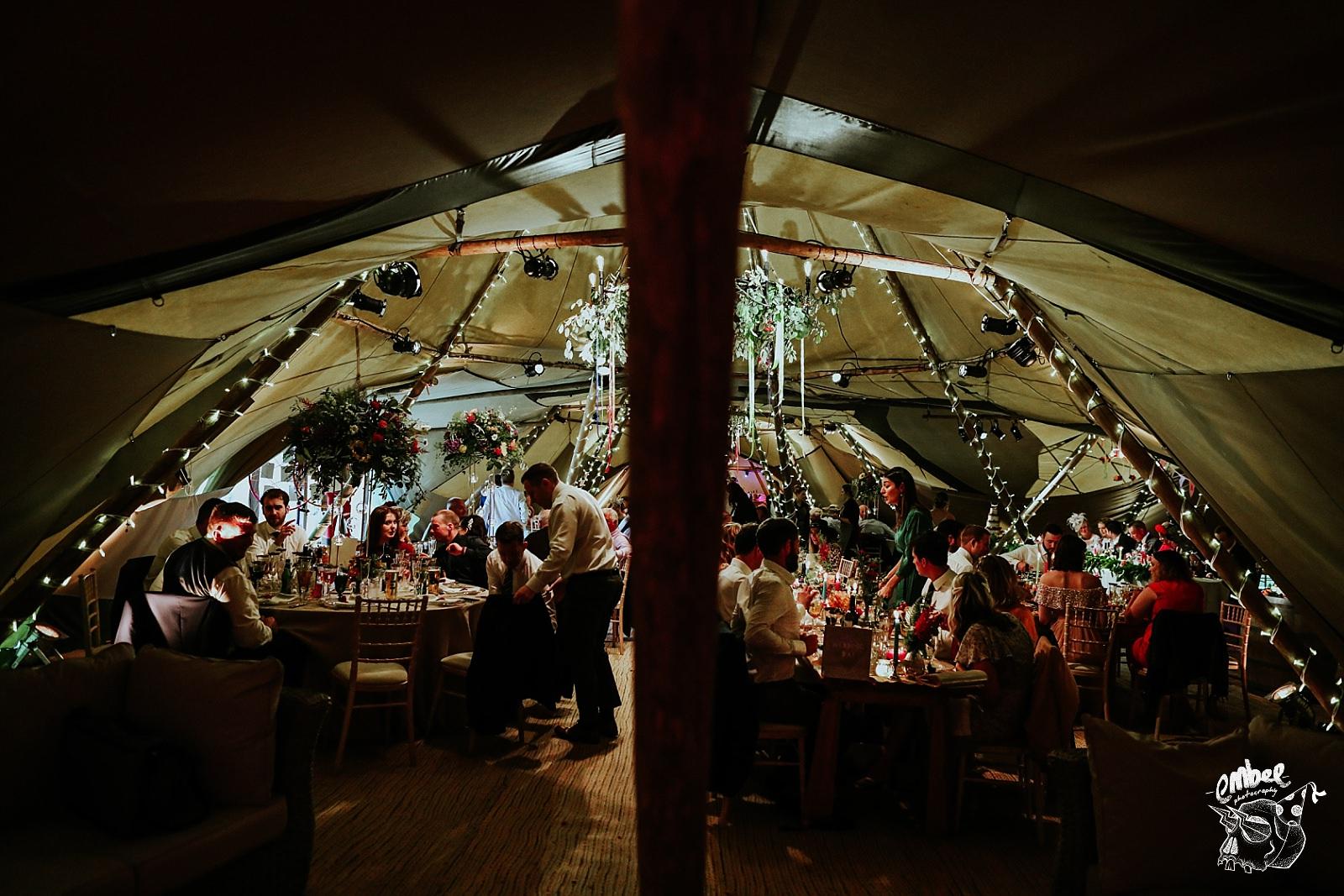 inside of wedding tipi