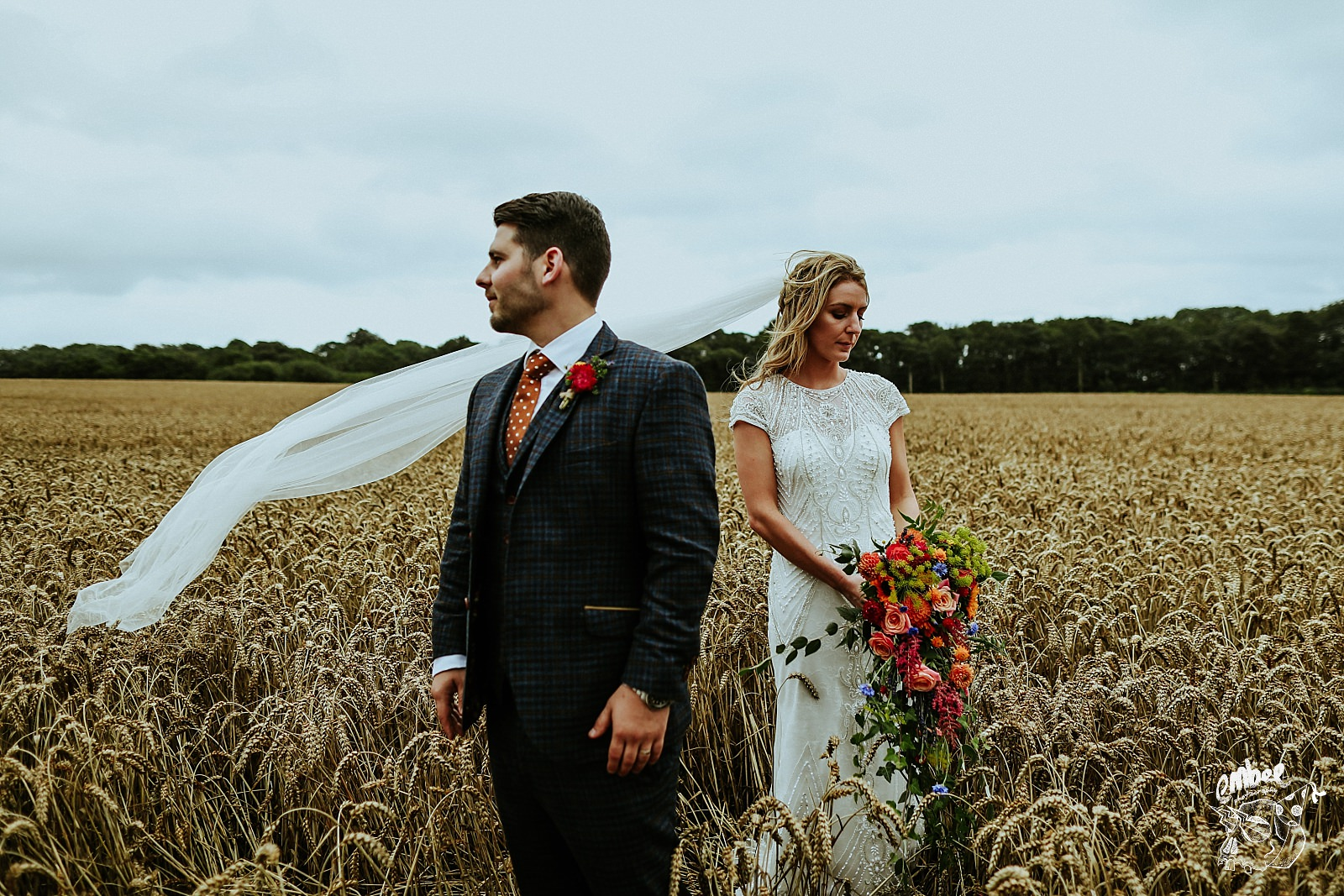 couples portraits in a wheat field