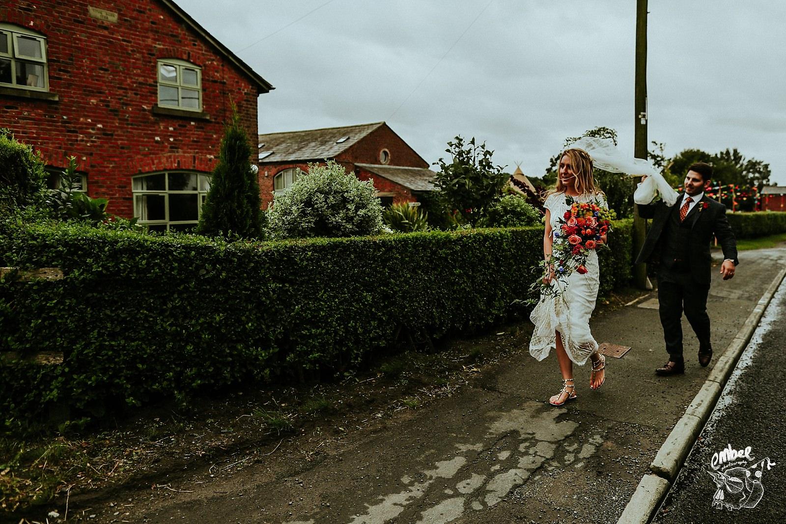 bride walk down the road