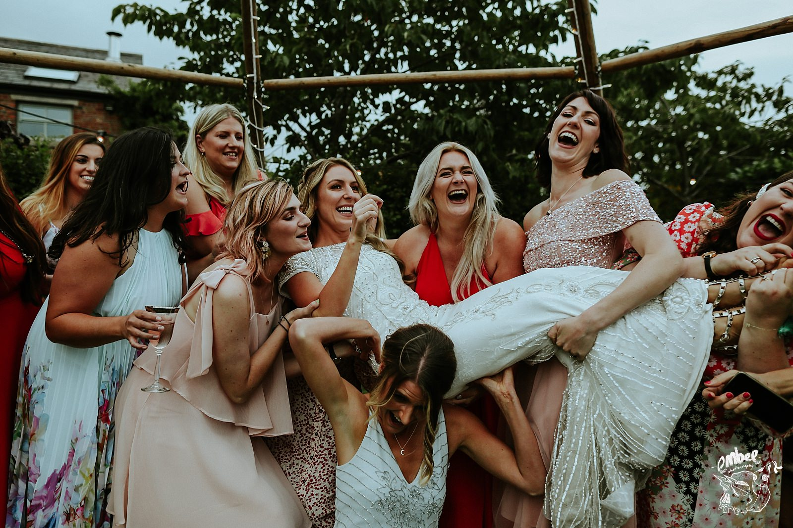 friends of bride having fun