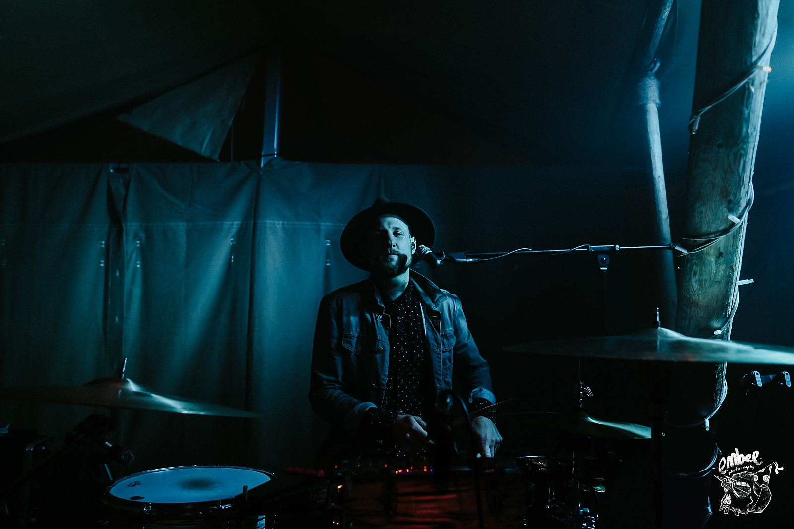 drummer of hipster band at wedding