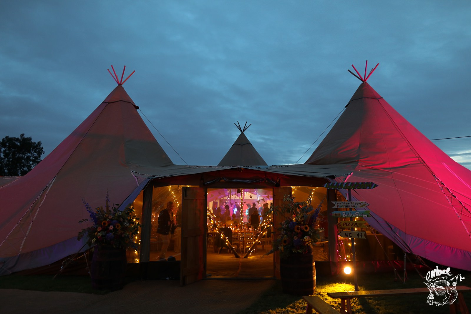 wedding in tipi at night