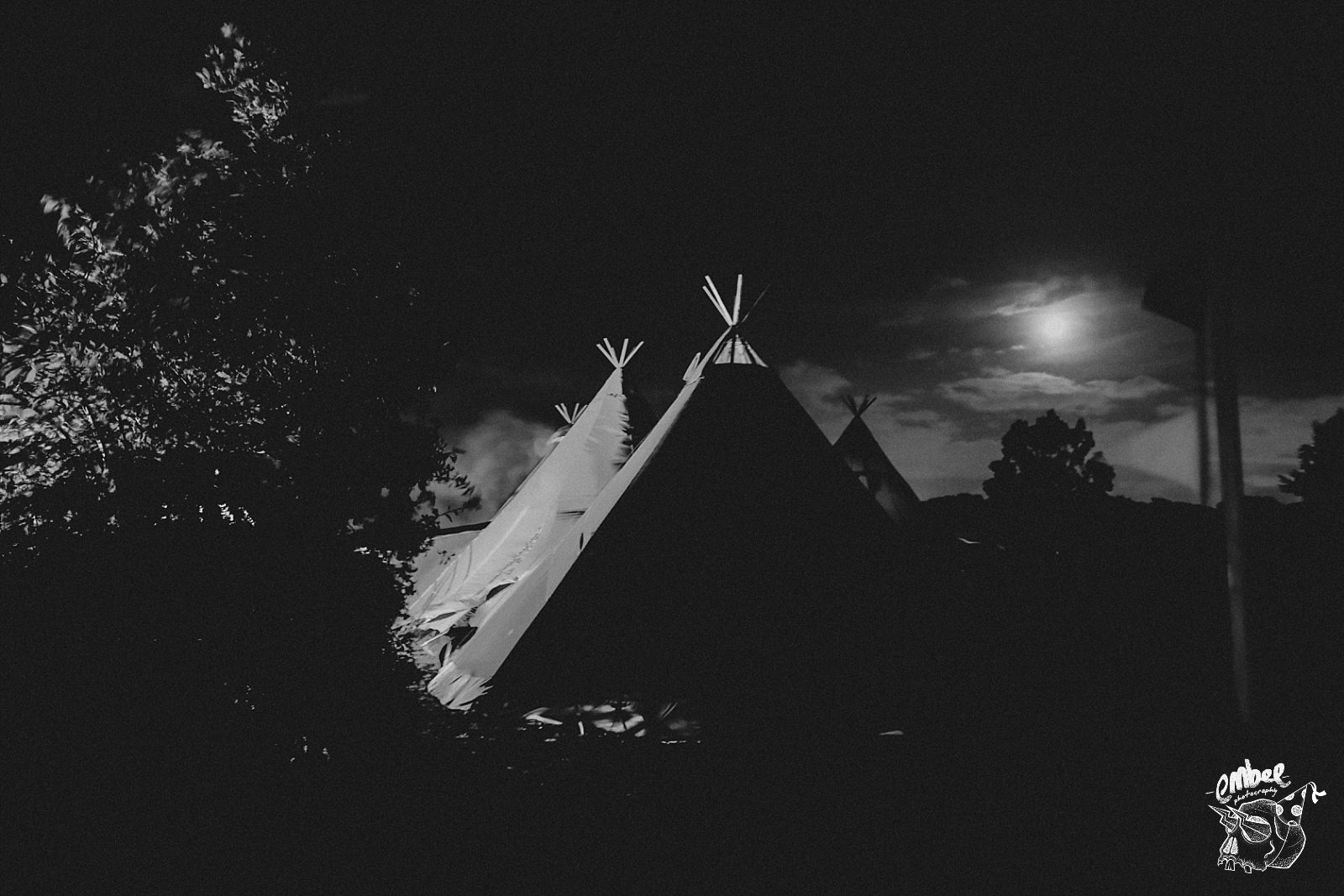 wedding tipi at night with moon